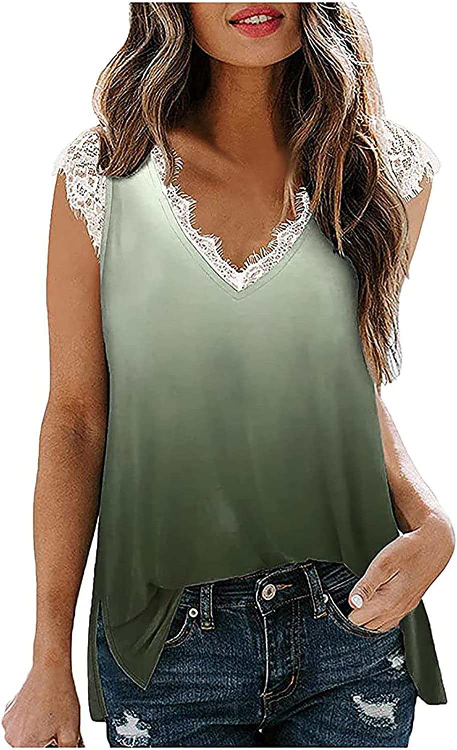 Tank Tops for Women Trendy Lace V Neck Grandient Tunic Sleeveless Tshirts Casual Slim Lightweight Thin Tee Vest