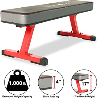 "Fitness Reality 1500 4"" Extra Thick Pad Flat Weight Bench with International Power Lifting Competition Standard, 1000lb Weight Capacity"