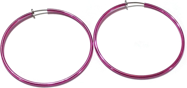Clip-on Earrings Shiny Hot Pink Hoop Earrings Simple Thin 1.5 inch Hoops
