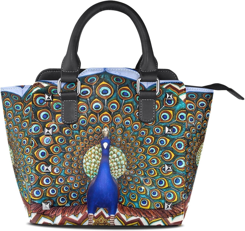 Sunlome Classic Peacock Print Women's Leather Tote Shoulder Bags Handbags