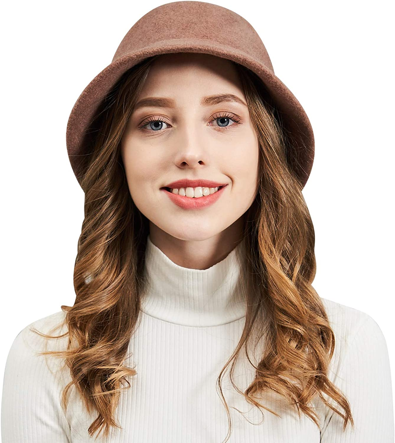 DianaWu Women Winter Wool Felt Bucket Hat with Multiple Solid colors