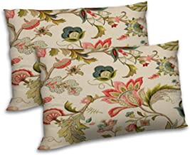 RADANYA Floral Printed Polyester Pillow Cover Set Sofa Couch Throw Rectangular Pillowcase (12x18 Inch, Cream Colour)