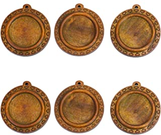 Monrocco 20 Pcs 25mm Vintage Round Heart Wooden Pendant Trays Blank Bezel Pendant Trays Base Cabochon Settings for Jewelry Making