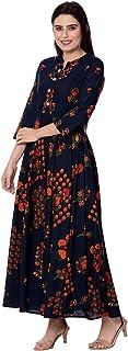 Monique Brand Women's Traditional Long Cotton Middi/Frock Dress (MQ-MD||KRNB||XXL16, Free Size, Navy Blue)