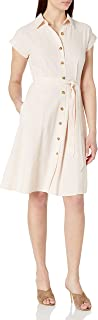 Calvin Klein Women's Short Sleeve Collared Dress with Button Down Front