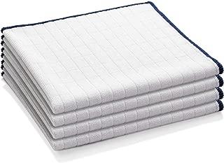 E-Cloth Wash & Wipe Microfiber Dish Cloths, White with Blue Trim, 4 Count