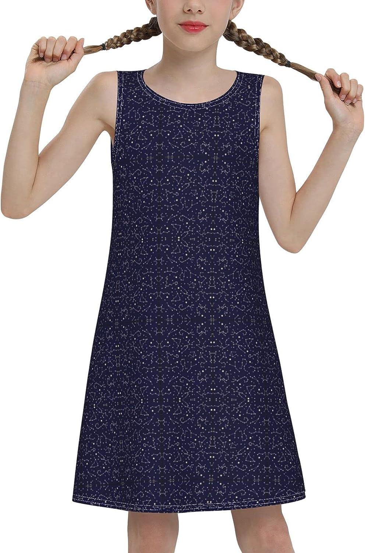 Dark Night Sky Constellation Sleeveless Dress for Girls Casual Printed A-Line Jumper Skirt