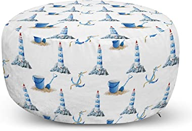 Ambesonne Lighthouse Ottoman Pouf, Hand Drawn Watercolor Sea Elements Beach Holiday Pattern Vintage Illustration, Decorative