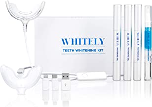 [2019 New] Whitely All-in-One At-Home Teeth Whitening Kit, No Sensitivity, Premium LED Light, Safe 35% Carbamide Peroxide, Whitening Pen (3 Pack), Desensitizing Gel (1 Pack), 30+ Uses, Hi-Smile,Whiten