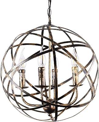 Benita 5 Light Antique Black Metal Tube Globe Chandelier