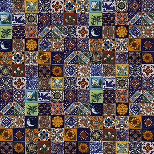 Saburo - 120 mexikanische Fliesen 5 x 5 cm Talavera Badezimmer- und Küchenfliesen Dekoration für Badezimmer, Dusche, Treppen, Küchenrückwand, Zementfliesen, marokkanische Designs