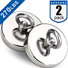 DIYMAG 2Pack Powerful Fishing Magnets,with Countersunk Hole Eyebolt, Diameter 1.9 inch(48 mm),270lbs(123 KG) Pulling Force for Retrieving in River and Magnetic Fishing