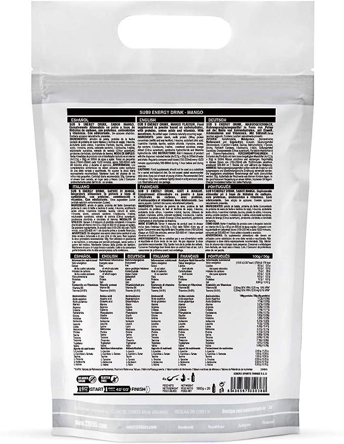 226ERS Sub9 Energy Drink Monodosis, Bebida Energética con Proteína Whey, BCAAs, Amilopectina, Taurina y L-Carnitina, Sandía - 1 unidad x 50 gr