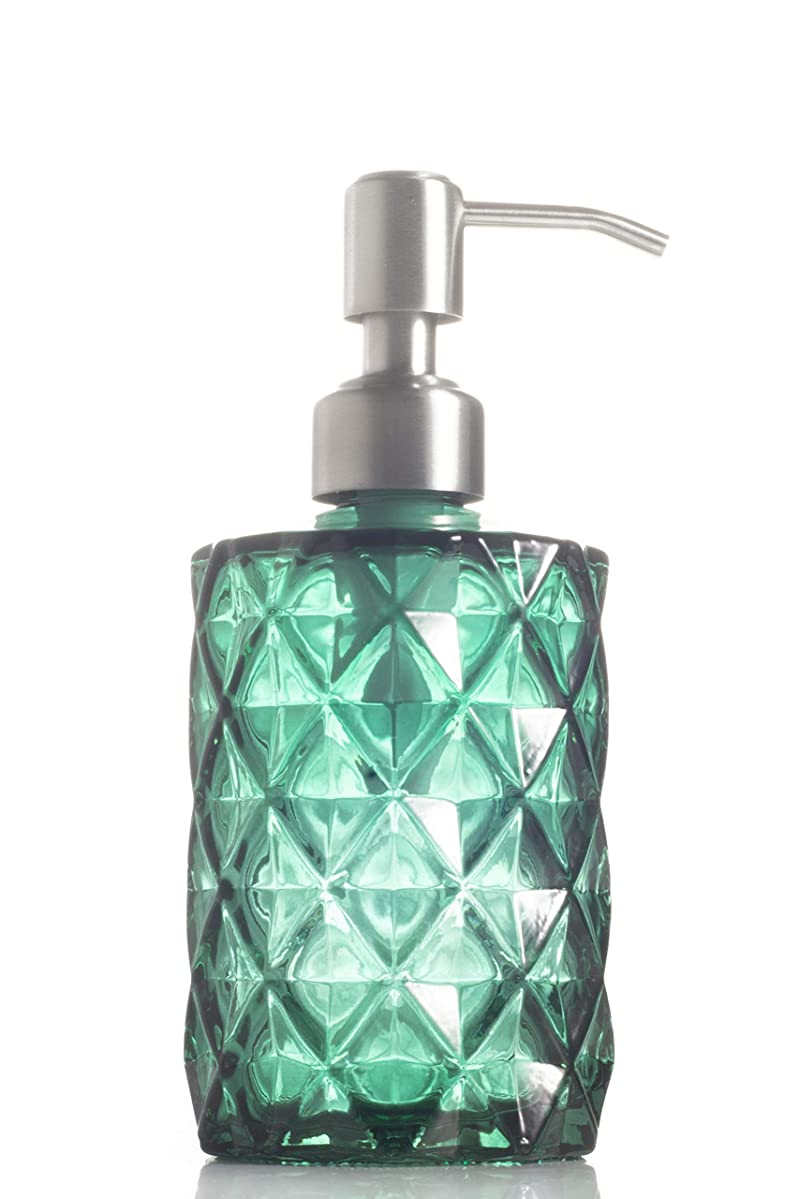 Easy-Tang Soap Dispenser with Stainless Steel Pump, Refillable Wash Hand Soap Clear Glass Bottle, Ideal for Liquid Soaps, Essential Oils and Lotions (Green)