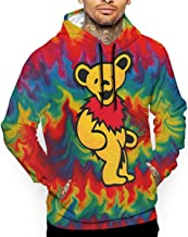 3D Printed Men's Colorful Fire Tiedye Dance Bear Pattern Graphic Hoodies Cool Pullover Athletic Hooded Sweatshirts