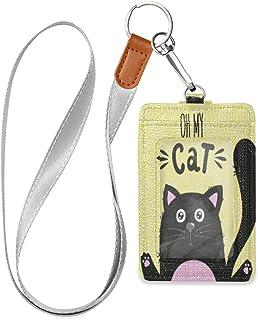 HMZXZ Porte-badge d'identification en cuir synthétique avec cordon détachable - Pour femme, homme, enseignant, employé de ...
