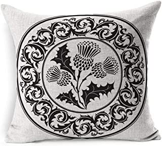 Ahawoso Linen Throw Pillow Cover Square 20x20 Scottish Thistle Flower Round Graphic Ornamental Leaf Patch Abstract Botanical British Celtic Ornate Circular Pillowcase Home Decor Cushion Pillow Case
