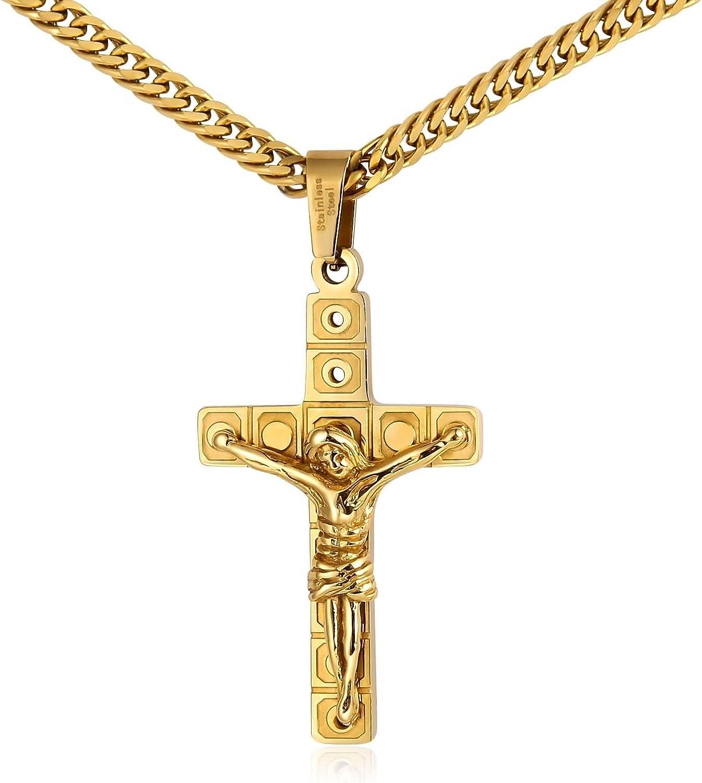 KnSam Unisex Chapado en Oro Collares Colgantes Cruz Oración de Jesús Crucifijo Cadena Oro [Collar de Novedad]