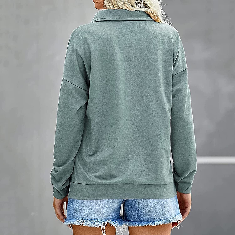 Women's Causal 1/4 Zip Pullover Long Sleeve Collar Sweatshirts Solid Activewear Running Jacket Shirt
