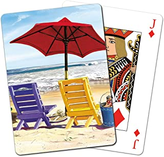 Tree-Free Greetings Deck of Playing Cards, 2.5 x 0.8 x 3.5 Inches, Beach Chairs (CD15237)