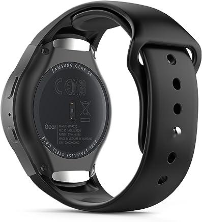MoKo Gear S2 Watch Correa, Silicona Suave Correa Reemplazo Deportiva para Samsung Galaxy Gear S2 SM-R720 / SM-R730 Smart Watch - Negro (No Apta Gear S2 Classic SM-R732)