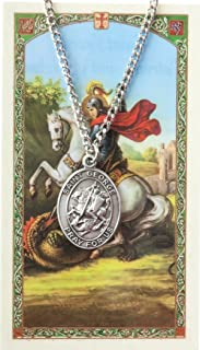 Pewter Saint St George Medal with Laminated Holy Card, 1 1/16 Inch