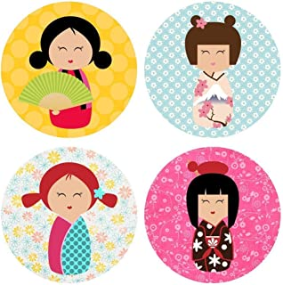 Kokeshi Girl in Kimono Sticker Labels - Geisha Girl Party Favors Envelope Seal - Set of 50