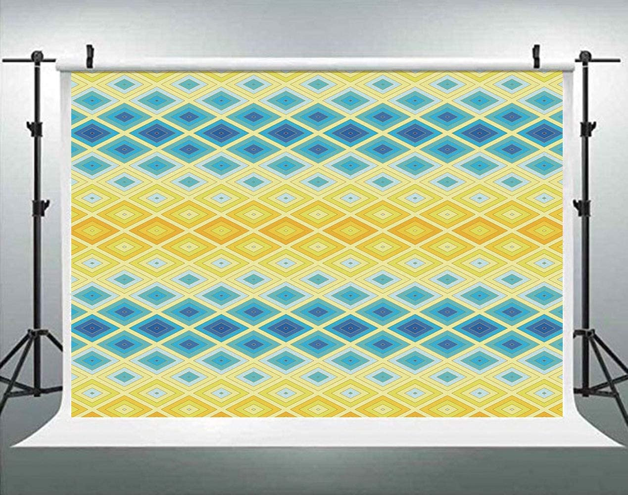 ALUONI 5x3ft Yellow and Blue,Horizontal Motifs Zigzag Lines Pattern Ombre Inspired Backdrop for Photography Photo Background for Family Party Pictures Customized Photo Booth Studio Props AM034672