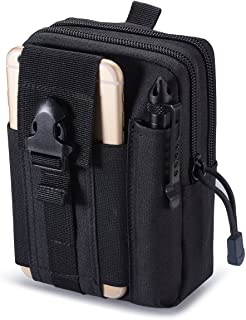 Zeato Tactical Molle Pouch EDC Utility Gadget Belt Waist Bag Pocket Organizer with Cell Phone Holster Holder for iPhone X 8/8 Plus 6/6 Plus 7/7Plus Samsung Galaxy S9 S8 S7 S6 LG HTC and More (Black)
