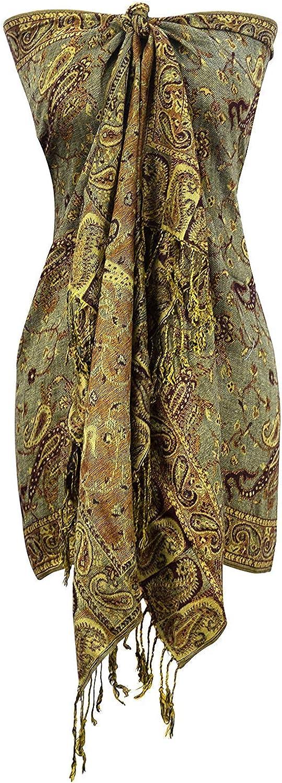 Peach Couture Elegant Double Layer Reversible Paisley Pashmina Shawl Wrap Scarf (Sage)