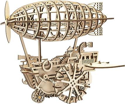 Robotime 3D Laser-Cut  Self Propelled Wooden Puzzle Air Ship Kit.