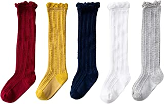 Jastore 5 Pairs/3 Pairs Unisex Baby Girl Boy Lace Stocking Knit Knee High Cotton Socks