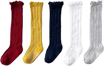 Jastore 5 Pairs/3 Pairs Unisex Baby Girl Boy Lace Stocking Knit Knee High Cotton Socks