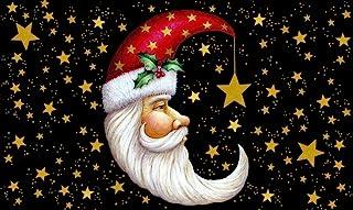 Toland Home Garden Santa Moon 18 x 30 Inch Decorative Floor Mat Christmas Sky Celestial Gold Star Holiday Doormat,Standard...