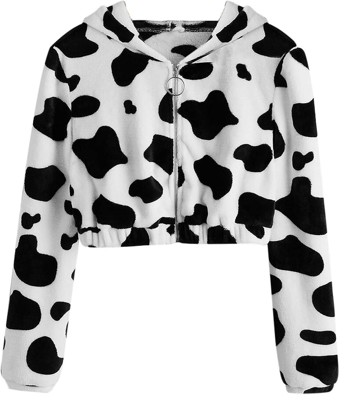 Cute Hoodie for Teen Girls/Womens Cow Printing Crop Pullover Long Sleeve Zipper Sweatshirt Tops