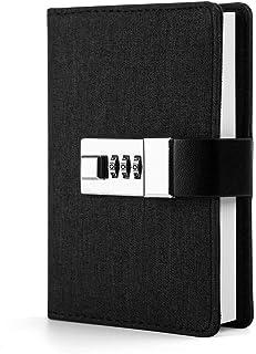 ロックパスワード 手帳 A7 ミニレザージャーナルライティングノート、メモ帳の秘密の日記 (色 : 黒)