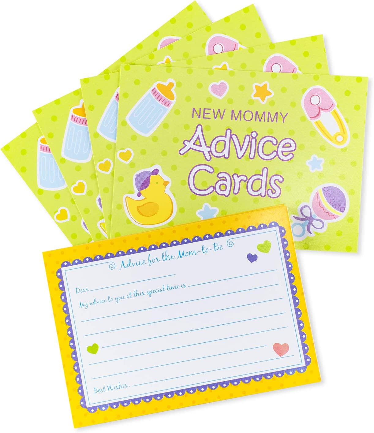 24 Pack Mommy Advice Cards Baby Shower Games Gender Neutral Fun Party Favors Parents-to-Be