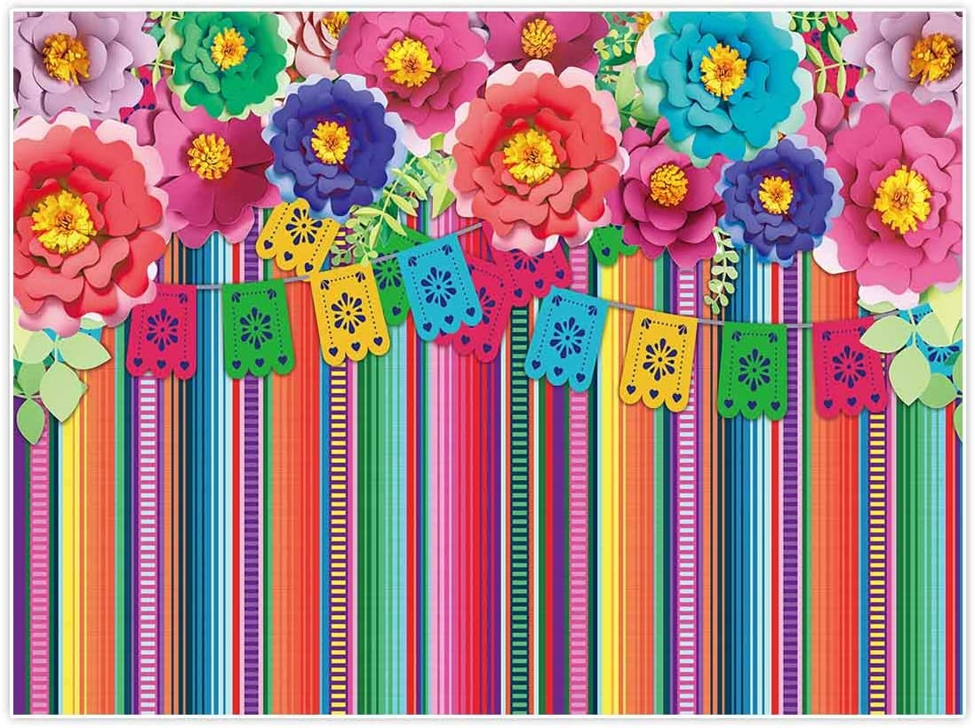Allenjoy 8x8ft Mexican Fiesta Theme Backdrop for Photography Festival Birthday Party Decor Cinco De Mayo Carnival Colorful Flags Floral Banner Table Decor Background Photo Studio Booth Props Supplies