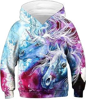 EMILYLE Boy Sweatshirt Galaxy Christmas Felpa Animali Stampa Natale Pullover Sportive per Bambini e Ragazzi