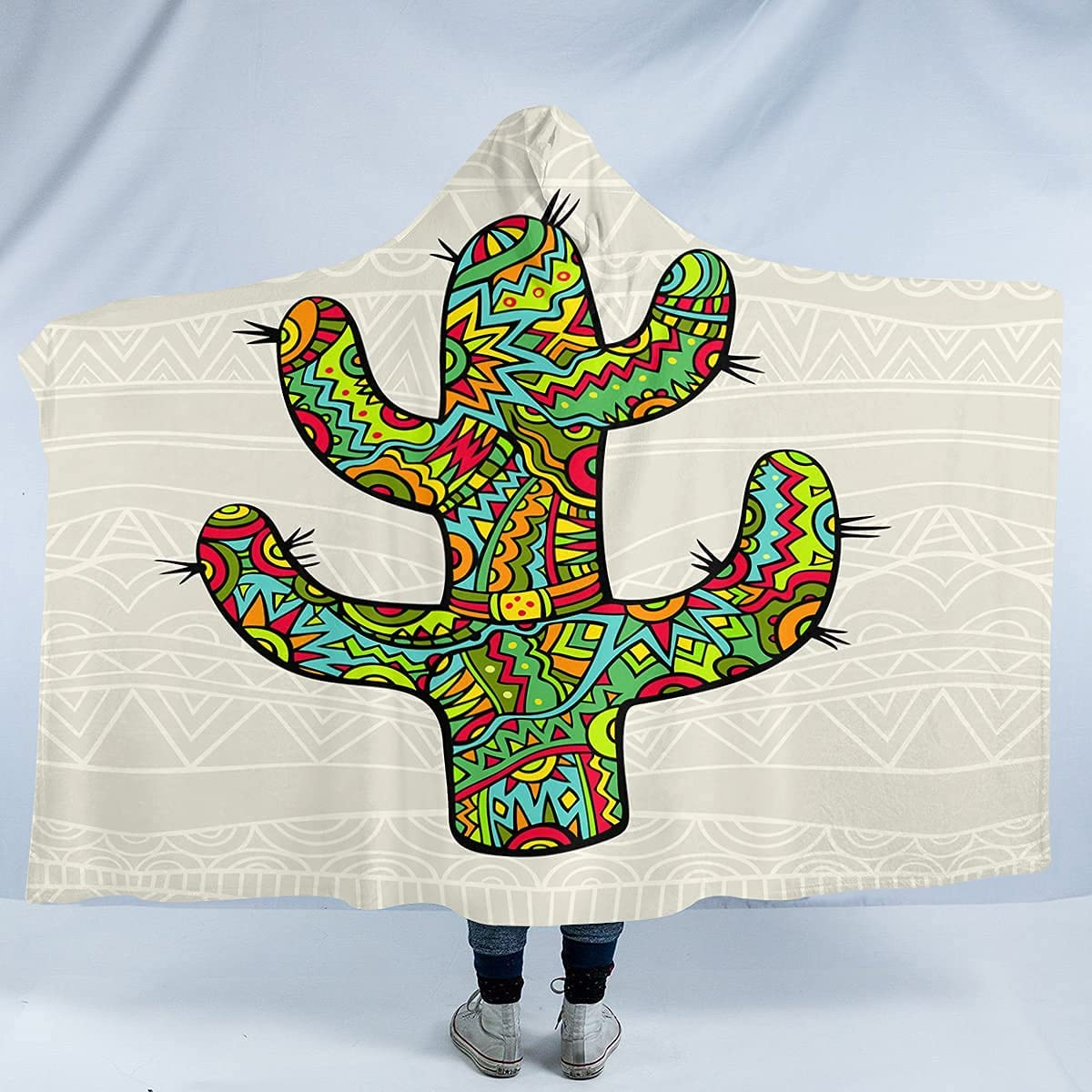 Exotic Colorful Cactus Hooded Japan's largest assortment Blanket Miami Mall Tribal Desert We Southwest