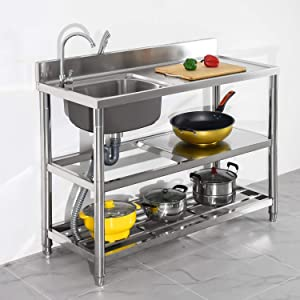 Free Standing Stainless-Steel Single Bowl Commercial Restaurant Kitchen Sink Set w/ Faucet & Drainboard, Prep & Utility Washing Hand Basin w/ Workbench & Double Storage Shelves Indoor Outdoor (39.5in)