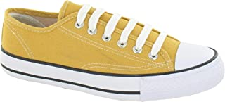 Spot On Womens/Ladies Low Cut Canvas Lace Up Shoes
