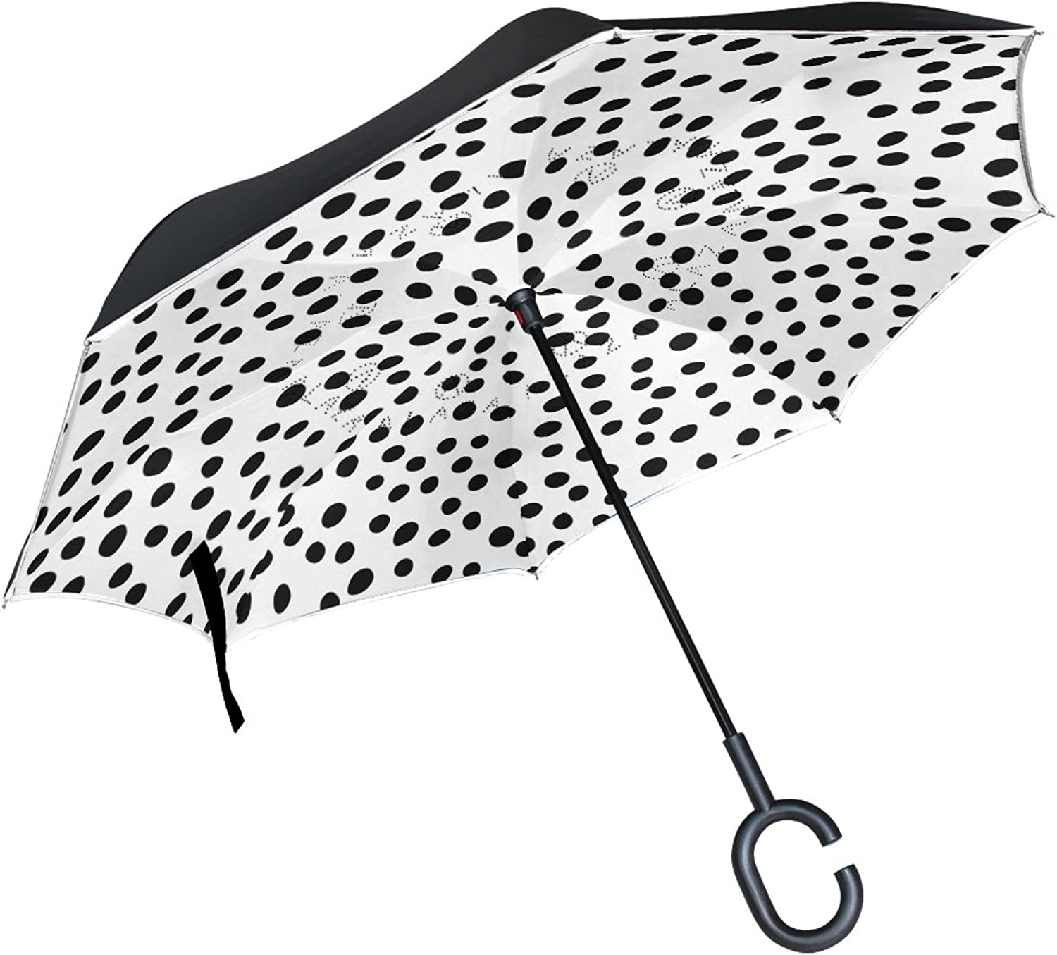 LEISISI Black and White Pattern with Dots Double Layer Ingreened Umbrella Reverse Auto Open Umbrella Windproof UV Predection Upside Down Umbrella for Car Rain Outdoor Use
