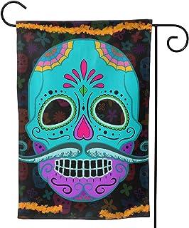 Halloween Sugar Skull Garden Flag Mexican Big Moustache Skull House Flag Vertical Double Sided Yard Outdoor Decor Party 1...