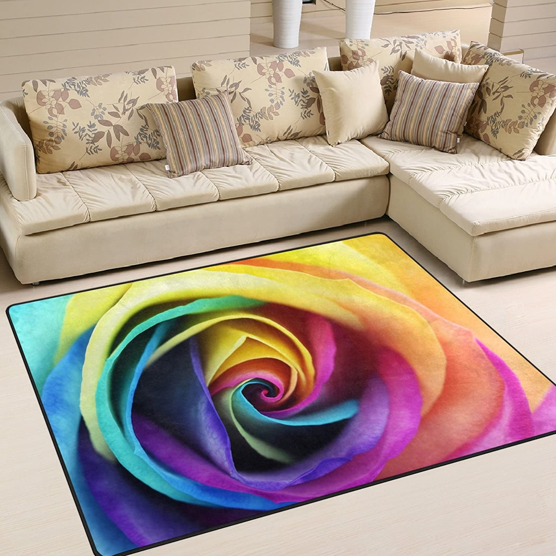 0e1570e47d4f ALAZA Area Rug 5'3 x4'Rainbow Heart Flower and Multi color Petals ...