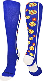 MadSportsStuff Softball Bomber Over The Calf Socks (Royal/White,  Medium)