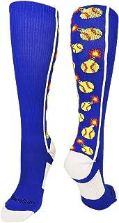 MadSportsStuff Softball Bomber Over The Calf Socks (Royal/White,  Small)