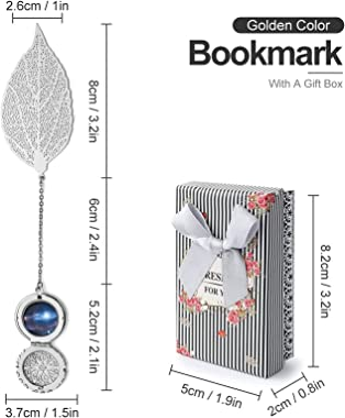 Metal Leaf Bookmark, Hollow Out Leaf Pendant Book Markers with Gifts Box, Ideal Gift for Reader, Friends, Teacher, Kids, Book