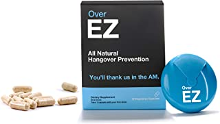 Over EZ Hangover Cure and Hangover Prevention with Milk Thistle, Anti Hangover Pill, Liver Detox with Amino Acids, Vitamin B6 and B12, Hangover Pill with 1000 milligrams (12 Capsules)) …