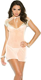 Elegant Moments Women's Lace and Mesh Babydoll with Satin Bow and Matching G-String